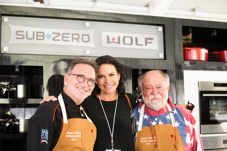 Stefanie Salem with chefs Rick Moonen (left) and Alan Greeley (right).