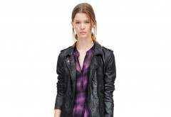 A versatile fall look can easily be created with a washed leather moto jacket, $895, and long-sleeve plaid ruffle dress, $495, both at Rebecca Taylor, Fashion Island. (949-610-0922; rebeccataylor.com)