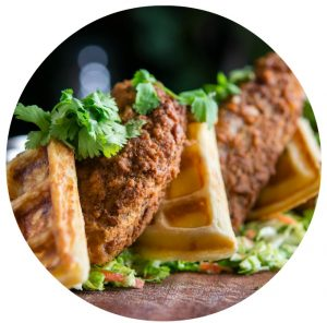 Chicken and waffles at Provenance