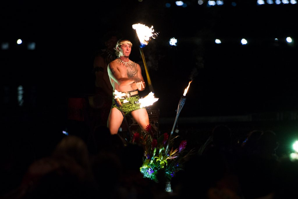 Tahitian fire dancer at Newport Beach Luau