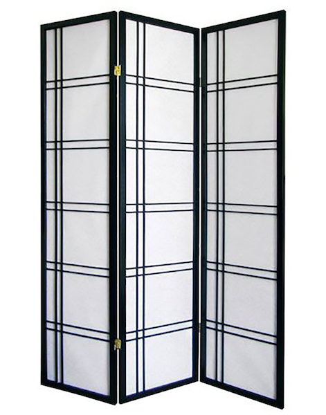 THREE PANEL SHOJI SCREEN WITH GEOMETRIC DESIGN