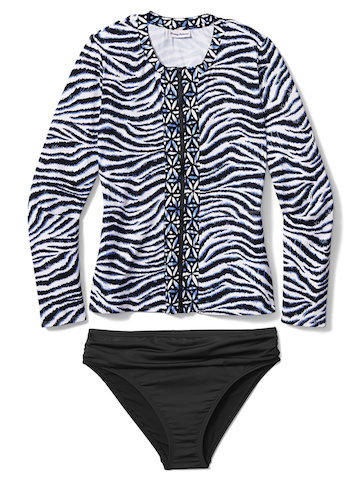Zanzibar Zebra Full Zip Rashguard with Pearl Solids Shirred Band High Waist Bottom - Tommy Bahama Women's Swimwewar